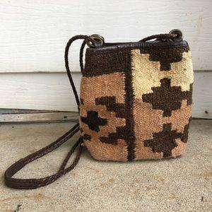 Vintage Southwestern Kilim Leather Crossbody Bag